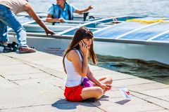 Member of Samara solar boat team Stock Photography
