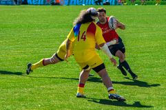 Rugby Player running during Spain-Romania match royalty free stock photography