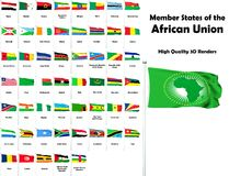 Member states of the African Union. All members of the African Union - High quality 3D renders vector illustration