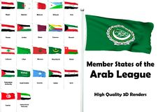 Member States of the Arab League. High quality 3D rendered flags of all members of the Arab League Stock Photography