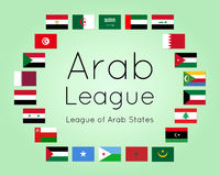 Member states of Arab League, vector set of country flags Stock Photos