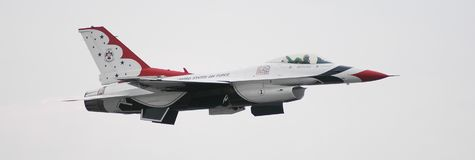 USAF Thunderbirds. Member of the USAF Thunderbirds during performance in Quonset Point, Rhode Island Royalty Free Stock Photos