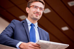 Member of working delegation. Image of male member of working delegation waiting for transport royalty free stock photos