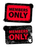 Members only. Red used members only grunge  stamp, isolated on white background Royalty Free Stock Photography