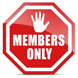 Members only. Sign with hand over white Royalty Free Stock Image