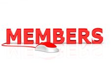 Members. A 3D rendered artwork with white background stock illustration