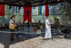 Members of the annual festival of Knights of Jerusalem, performing at the music scene. Jerusalem, Israel, October 03, 2016: Member of the annual festival of Stock Photo