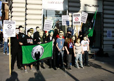 Members of Anonymous hold rally Royalty Free Stock Photo