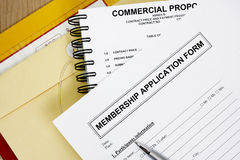Members application  form Royalty Free Stock Photos