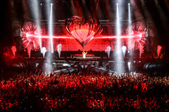 Members of ARMIN ONLY: Intense show with Armin van Buuren in Minsk-Arena on February 21, 2014 Stock Photography