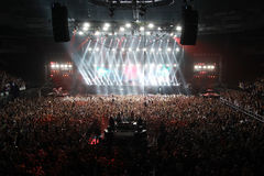 Members of ARMIN ONLY: Intense show with Armin van Buuren in Minsk-Arena on February 21, 2014 Royalty Free Stock Photo