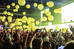 Members of ARMIN ONLY: Intense show with Armin van Buuren in Minsk-Arena on February 21, 2014 Stock Photo