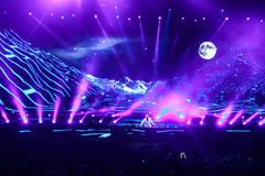 Members of ARMIN ONLY: Intense show with Armin van Buuren in Minsk-Arena on February 21, 2014 Royalty Free Stock Image