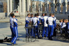 Members of band getting ready to play concert on grounds of WWII memorial, National Mall, Washington,DC April,2015 Stock Image
