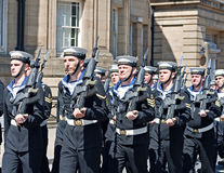 Members of the British armed forces marching through liverpool Stock Images