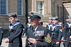 Members of the British armed forces marching through liverpool Royalty Free Stock Image