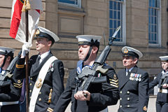 Members of the British armed forces marching through liverpool Royalty Free Stock Images
