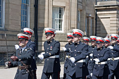 Members of the British armed forces marching through liverpool Royalty Free Stock Photography