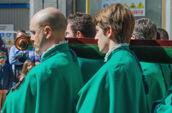 Members of a brotherhood carrying a Paso in Valladolid Holly wee Stock Image