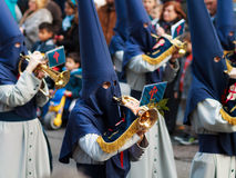Members of a brotherhood. In the procession of donkey in Easter, celebrated on March 20, 2016, in Bilbao, Spain Stock Photos