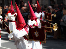 Members of a brotherhood. In the procession of donkey in Easter, celebrated on March 20, 2016, in Bilbao, Spain Stock Images