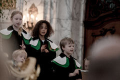 Members of child Choir sing at the St. Michael Church Royalty Free Stock Images