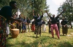 Members of Community Reproductive Health Workers, Uganda. Members of the Community Reproductive Health Workers (CRHW) perform a play at a village in Uganda stock images