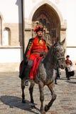 Members of the Cravat Regiment. CROATIA ZAGREB, 1 OCTOBER 2017: Changing of the guard. Horseman member of the Cravat Regiment in front of the Church of St. Mark Stock Image