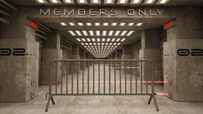 Members only. 3d design. Futuristic corridor SCIFI Royalty Free Stock Image