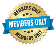 Members only 3d gold badge. With blue ribbon Stock Photo