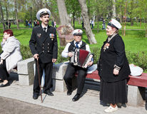 Members of the ensemble Play the accordion Kronstadt. Kronstadt. Royalty Free Stock Photo
