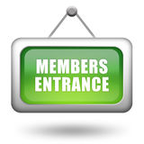 Members entrance sign. On white background Stock Photo
