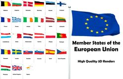 Members of the European Union. High quality and high resolution 3D renders - the flags of the members of the European Union stock illustration