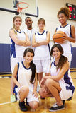 Members Of Female High School Basketball Team With Coach Stock Photo