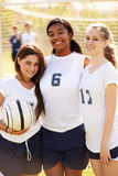 Members Of Female High School Soccer Team. Looking At Camera Smiling Royalty Free Stock Photo