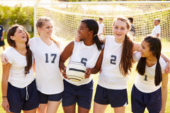 Members Of Female High School Soccer Team. Smiling At Camera Royalty Free Stock Photography