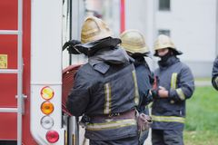 Fire brigade after work Stock Photo