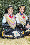 Members of the Greek folk ensemble at the festival Rozhen 2015 Royalty Free Stock Photo