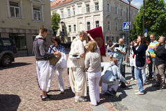 Members of Hare Krishna chanting and dancing. On Vilnius, Lithuania Royalty Free Stock Images