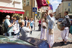 Members of Hare Krishna chanting and dancing. On Vilnius, Lithuania Royalty Free Stock Image