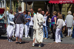 Members of Hare Krishna chanting and dancing. On Vilnius, Lithuania Stock Image