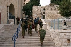 Members of the Israeli Border Police in the Old City, Jerusalem. Israel. They are deployed for law enforcement in the West Bank and Jerusalem Stock Image