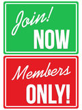 Members Only and Join Now website signs Stock Images