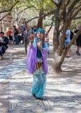 Members Knights of Jerusalem dressed as a dancer is dancing oriental dance Stock Photos