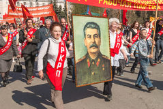 Members of KPRF with Stalin's portrait on parade Royalty Free Stock Image
