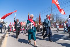 Members of KPRF on Victory Day parade Royalty Free Stock Image