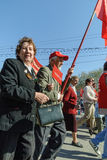 Members of KPRF on Victory Day parade Royalty Free Stock Photos