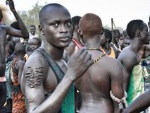 Young Murle with scars of belonging in Pibor, South Sudan royalty free stock images