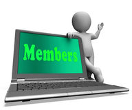 Members Laptop Shows Membership Registration And Web Subscribing Stock Photos