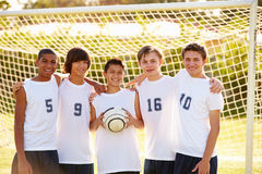 Members Of Male High School Soccer Team. Smiling To Camera Stock Photo